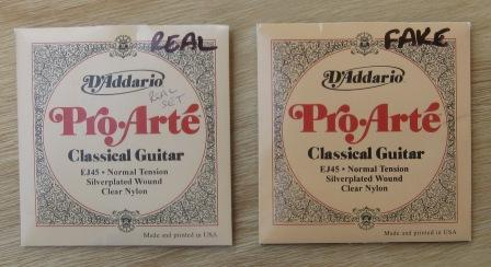 Counterfeit D'Addario EJ45 Pro-Arte classical guitar strings are hard to identify by their packaging