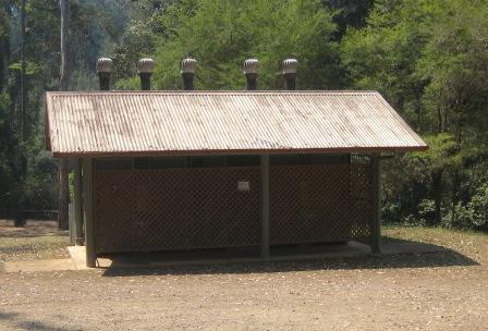 Charlie Moreland camping area amenities blocks featured drop dunnies, complete with ventilation stacks