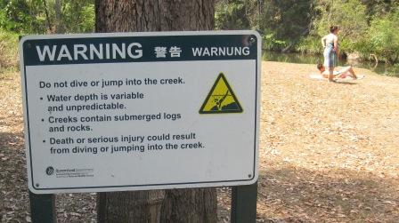 Little Yabba Creek swimming warning sign