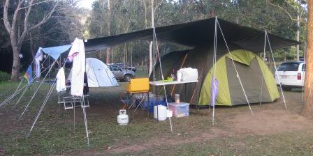 20' x 24' tarpaulin with ridge pole with sheltered living space out the front