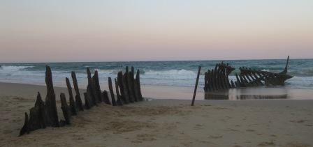 Remains of the SS Dicky shipwreck at sunset