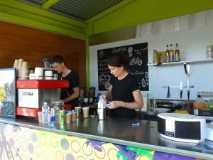 Bikeway Coffee & Juice Bar baristas Will and Helen
