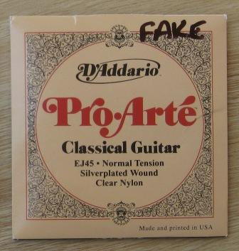 Counterfeit D'Addario EJ45 Pro-Arte classical guitar strings