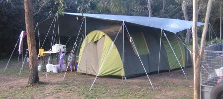 20' x 24' tarp with ridge pole over Jackaroo dome tent